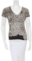 Roberto Cavalli Leopard Print V-Neck Top