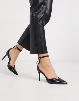 Stradivarius ankle tie court shoes in black