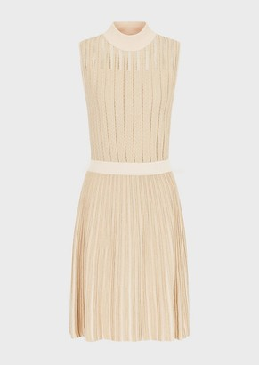 Emporio Armani Knit Dress In A Lurex And Ottoman Weave