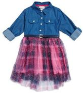 Little Lass Little Girl's Denim and Plaid Dress