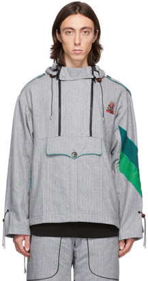 Boramy Viguier Grey Wool Pinstripe Windbreaker Jacket