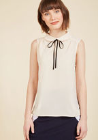 ModCloth Feedback At It Sleeveless Top in Cream in XS