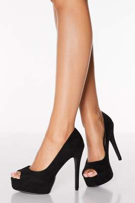 Quiz Black Faux Suede Peep Toe Platform High Heel Courts