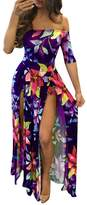 WO-STAR Romper Split Maxi Dress High Elasticity Floral Print Short Jumpsuit Overlay Skirt for Summmer Party Beach L