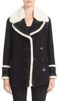 Burberry Brit 'Colstead' Wool Blend Coat with Leather & Genuine Shearling Trim