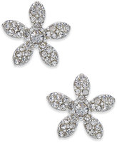 INC International Concepts Silver-Tone Pavé Flower Stud Earrings, Only at Macy's