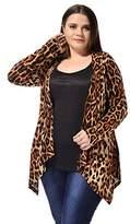 Agnes Orinda Ladies Plus Size Leopard Print Asymmetric Open Front Fashion Cardigan