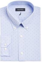 Nautica Men's Classic/Regular Fit Classic Blue with Navy Pokka Dots Dress Shirt