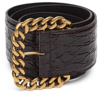 Saint Laurent St Sulpice Chain-buckle Croc-effect Leather Belt - Brown