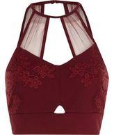 River Island Womens Dark Red mesh insert lace bralet
