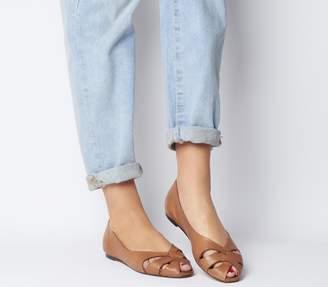 Office Fickle Peep Toe Flats Tan Leather