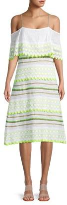Pitusa Cold-Shoulder Cotton-Blend Coverup Dress