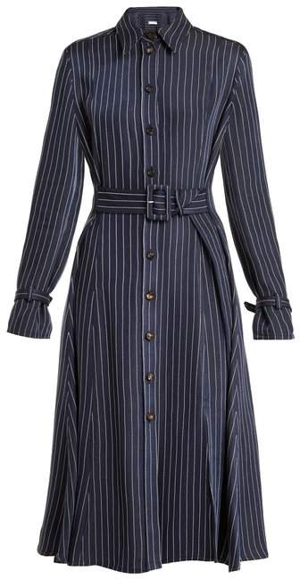 Altuzarra Fiona Waist Belt Pinstriped Twill Shirtdress - Womens - Navy Stripe