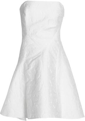 Halston Strapless Pleated Jacquard Dress