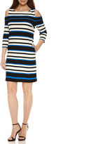 Studio 1 Cold Shoulder 3/4 Sleeve Sheath Dress
