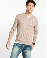 Express marled cotton v-neck sweater