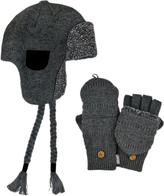 Muk Luks Men's Nordic-Style Trapper Hat With Flip Mittens Set - Solid Grey