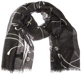 Valentino Garavani Panther Printed Black And Charcoal Modal. Cashmere And Silk Scarf