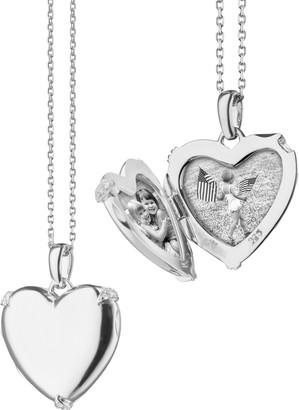 Monica Rich Kosann White Sapphire Heart Locket Necklace