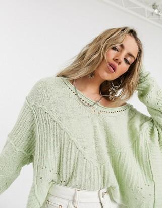 Free People seashell sweater in light green