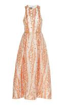 Monique Lhuillier Metallic Jacquard-Knit Tea-Length Dress