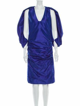 Tom Ford Silk Knee-Length Dress Blue