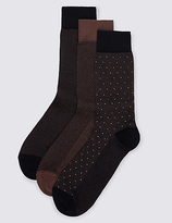 M&s Collection Luxury 3 Pairs Of Luxury Egyptian Cotton Design Socks