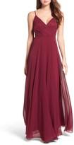 LuLu*s Women's Surplice Chiffon Gown