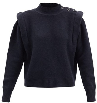 Etoile Isabel Marant Meery Exaggerated-shoulder Wool-blend Sweater - Navy