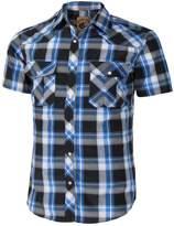 Coevals Club Men's Casual Plaid Snap Front Short Sleeve Shirt (Black / blue , L)