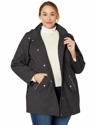 INTL d.e.t.a.i.l.s Women's Plus Size Hooded Sweatshirt Jacket with Asymetrical Zip