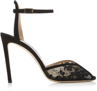 Jimmy Choo Sacora Lace Ankle-Strap Sandals