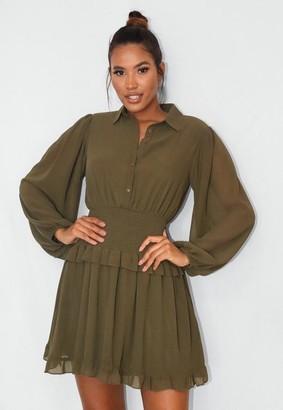 Missguided Khaki Shirred Waist Shirt Dress