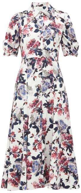 Erdem Gisella Floral Satin-jacquard Shirt Dress - White Multi