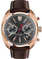 Ferrari Mens Scuderia Formula Sportiva Rose Goldtone Leather Strap Watch