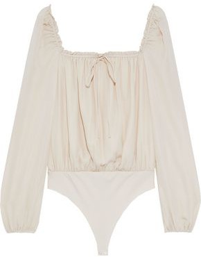 CAMI NYC The Dolly Ruffle-trimmed Silk And Stretch-jersey Thong Bodysuit