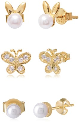 Gab+Cos Designs 14K Yellow Gold Vermeil CZ & Imitation Pearl Good Luck Charm Mix & Match Stud Earring Set