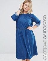 Asos Denim Midi Skater Dress With 3/4 Sleeve
