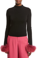 Alice + Olivia Haylen Mock-Neck Long-Sleeve Top w/ Fur Cuffs