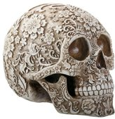 Summit 8 Inch White and Light Brown Colored Floral Human Skull Figurine