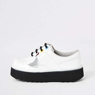 Kickers white leather Lo Stack boots