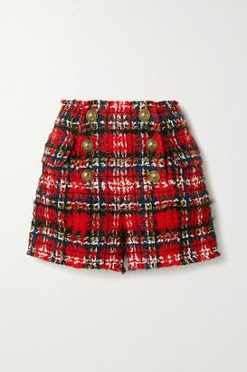 Balmain Frayed Checked Tweed Shorts - Red