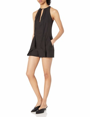 Halston Women's Sleeveless High Neck Romper with Flounce and Binding