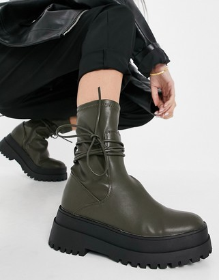 Public Desire Finale chunky flat ankle boots with tie in smooth olive