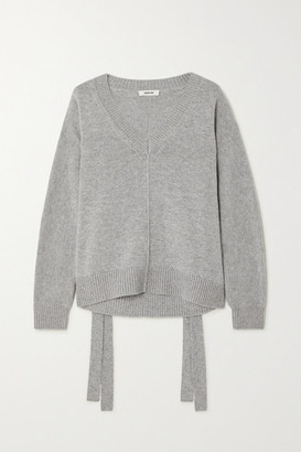 Jason Wu Tie-detailed Wool And Cashmere-blend Sweater - Gray