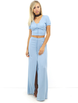 West Coast Wardrobe New Passion Top and Skirt Set in Sky Blue