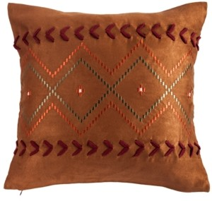 """HiEnd Accents Embroidered Aztec 18""""x18"""" Pillow"""