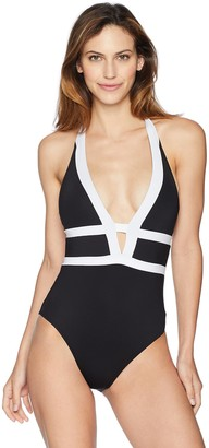 La Blanca Women's Color Block Halter One Piece Swimsuit Black/White 12