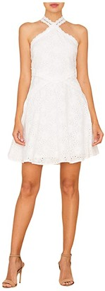 Miss Me Lace Trim Halter Dress (Off-White) Women's Clothing