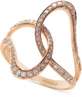 Effy Pavé Rose by Diamond Interlocked Ring (1/3 ct. t.w.) in 14k Rose Gold